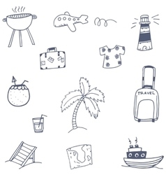 Travel set icon doodle vector