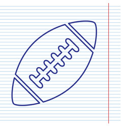 American simple football ball navy line vector