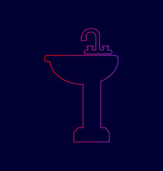 Bathroom sink sign line icon with vector