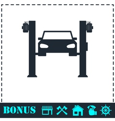 Car lifting icon flat vector