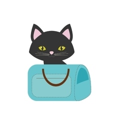 Cat pink ears green eyes blue pet carrier bag vector