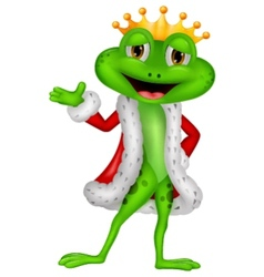 Cute king frog cartoon with presenting vector