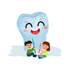 cute little kids cleaning giant smiling tooth vector image vector image