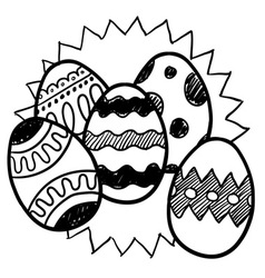 doodle easter eggs star vector image