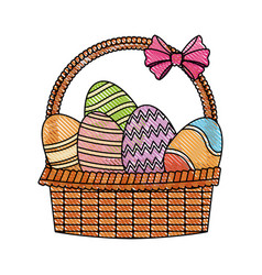 Drawing easter basket with egg decoration party vector