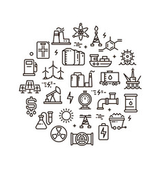 energy power and fuel line icons vector image