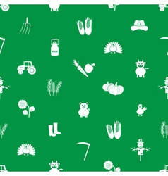 farm icons green and white seamless pattern eps10 vector image vector image