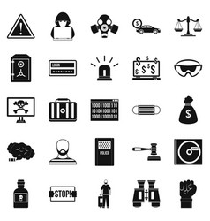 Fault icons set simple style vector