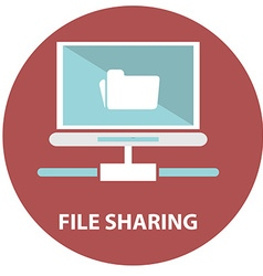 File sharing concept folder with documents icon vector