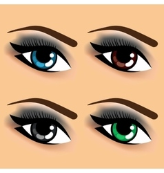 four eyes with different eye colors vector image