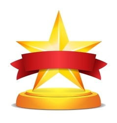 Gold star award red ribbon with place for text vector