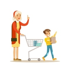 Grandmother and grandson shopping happy family vector