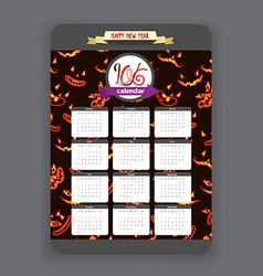 Halloween ghost face background calendar 2016 year vector