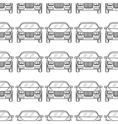 Hand drawn cars silhouette seamless pattern vector
