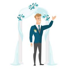 Happy groom standing under the wedding arch vector