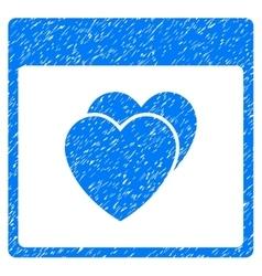 Hearts calendar page grainy texture icon vector