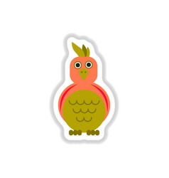 In paper sticker style parrot vector