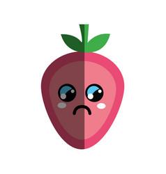 Kawaii nice sad strawberry icon vector