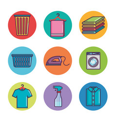 laundry and dry cleaning icons vector image vector image