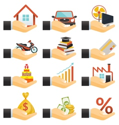 Loan hands with objects credit vector