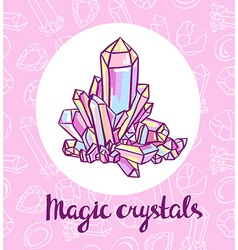 Magical crystals jeweler card vector