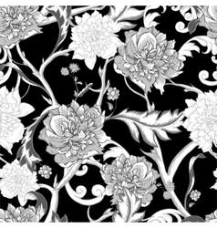Monochrome seamless pattern with blooming peony vector image vector image