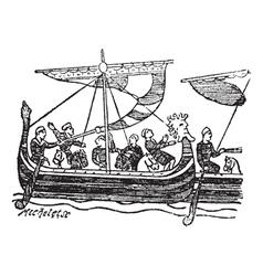 Norman Ship vintage engraving vector image