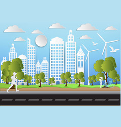 paper art of city and park on green background vector image