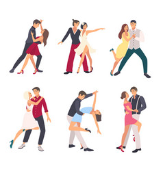 People dancing salsa couples man and woman in vector