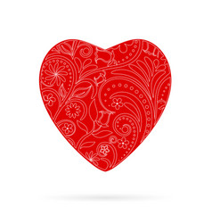 red beautiful greeting floral heart vector image