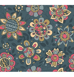 seamless pattern with beautiful colorful flowers vector image
