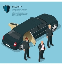 Security officers protects car with VIP person vector image vector image