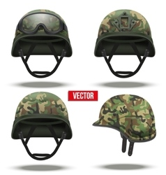 Set of military tactical helmets camouflage color vector