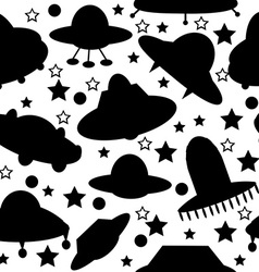 Silhouettes of spaceships seamless pattern vector image vector image
