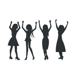 smiling dancing women icons vector image vector image