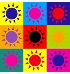 Sun sign pop-art style icons set vector
