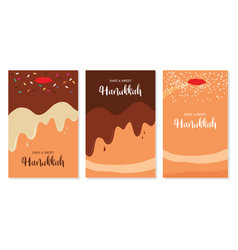 Three greeting cards for jewish holiday hanukkah vector