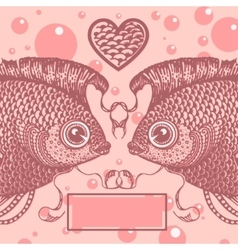 Two lovers vintage fish vector
