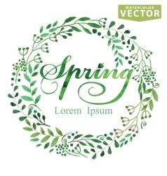 Watercolor Spring BackgroundWordwreatbrunshes vector image