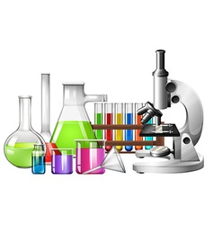 Science equipment with microscope and beakers vector
