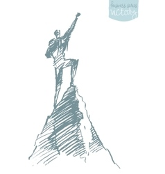 Drawn silhouette man top hill winner sketch vector
