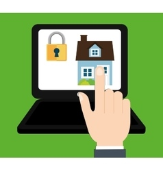Home security laptop technology digital system vector