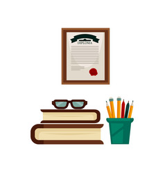 Stationery books pile and diploma from study room vector