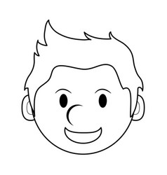 monochrome silhouette of cartoon face smiling man vector image