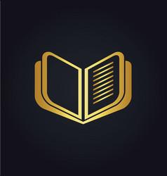 Open book education gold logo vector