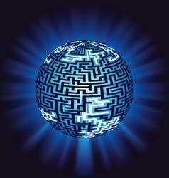 globe labyrinth - maze with illumination vector image