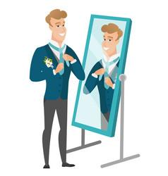 Groom looking in the mirror and adjusting tie vector