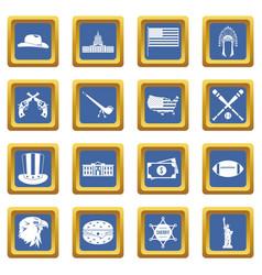 usa icons set blue vector image