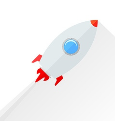 Flat rocket flying isolated over white vector