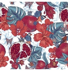 Vintage seamless background tropical fruit vector